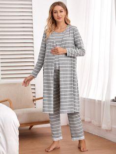 Unique Maternity 3pcs Pajama Set Sleeveless Top With Striped Robe & Pant