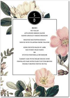 Night Blossoms - Signature White Menu Cards//