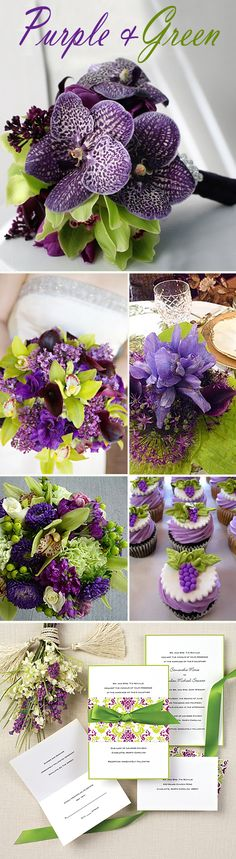 Purple and Chartreuse flowers,cupcakes and decor. I love this color combo. These ideas would be equally as wonderful used for any kind of party or gathering. You don't have to wait for a wedding!