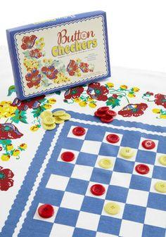 Bright as a Button Tablecloth Checkers Set, #ModCloth