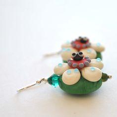 Lady Bug Flower Earrings on Sterling Silver Lampwork by bstrung, $32.00