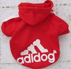 Adidog Red Dog Sweatshirt Hoodie Jacket - For Smaller Pets ** You can find more details by visiting the image link. (This is an affiliate link) #DogsApparel