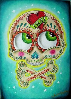 Tattooed Sugar Skull By Jordana Hawen From Day Of The Dead 10 Art.  This makes me think of a Betty Boop sugar skull.