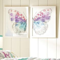 Framed Split ButterFly Wall Art #potterybarnteen i need to make something like this...