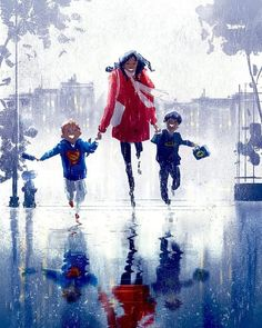 Pascal Campion, a French-American artist, based in Burbank, California, draws heartwarming and soulful images about everyday life. Family Illustration, Illustration Art, Best Funny Pictures, Cool Pictures, Mother And Child Painting, Pascal Campion, Family Drawing, Mother Art, American Artists