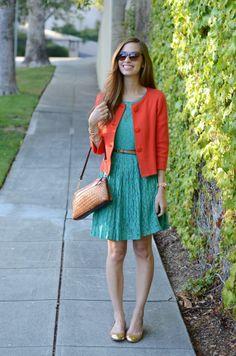 lace dress + bright jacket + metallic flats