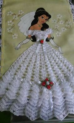 Doll dress pattern beautiful New Ideas Crochet Motifs, Thread Crochet, Crochet Crafts, Crochet Stitches, Crochet Projects, Crochet Patterns, Crochet Bunny, Crochet Flowers, Crochet Lace