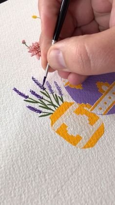 Painting Potted Lavender by Philip Boelter - Don't you just love the scent of lavender? It made me want to paint it. Check out this painting v - Gouache Painting, Painting & Drawing, Mandala Painting, Painting Pots, Painting On Wall, Abstract Tree Painting, Mandala Canvas, Plant Drawing, Inspiration Art