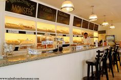I love the idea of having a long counter of stools so that customers can watch the bakers at work!