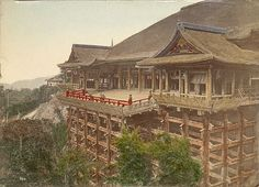 This is part of Kiyomisu in Kyoto, published as a postcard, circa 1909. Kiyomizu-dera (清水寺?), officially Otowa-san Kiyomizu-dera (音羽山清水寺?) is an independent Buddhist temple in eastern Kyoto. The temple is part of the Historic Monuments of Ancient Kyoto (Kyoto, Uji and Otsu Cities) UNESCO World Heritage site. (It should not be confused with Kiyomizu-dera in Yasugi, Shimane, which is part of the 33-temple route of the Chūgoku 33 Kannon Pilgrimage through western Japan.)