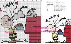 schema punto croce snoopy e charlie brown Cross Stitch Bookmarks, Beaded Cross Stitch, Cross Stitch Embroidery, Cross Stitch Designs, Cross Stitch Patterns, Stitch Character, Stitch Cartoon, Charlie Brown, Needlepoint Kits