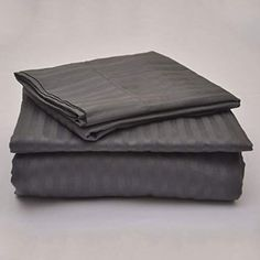 True Linen 3 PC Elegant Duvet Cover Set Made by 400 TC Long Staple Egyptian Cotton, Duvet Cover Come with Zipper Closer for Protect Your Comforter Super King Size Dark Grey Stripe Hotel Bed Sheets, Luxury Bed Sheets, Sheets Bedding, Luxury Bedding, King Sheets, King Sheet Sets, 100 Cotton Sheets, Cotton Sheet Sets, Full Size Sheets