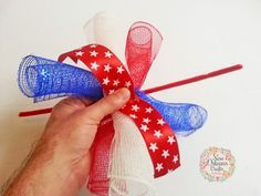 New Orleans Crafts by Design: How To Make A Spiral Deco Mesh Wreath - DIY Spiral Deco Mesh Wreath. Make Christmas add ornaments with each oneHow To Make A Spiral Deco Mesh Wreath Patriotic Red, White and Blue Spiral Deco Mesh Wreath So I am going to Deco Mesh Crafts, Wreath Crafts, Diy Wreath, Wreath Making, Wreath Ideas, Ribbon Wreath Tutorial, Wreath Bows, Summer Deco, Mesh Ribbon Wreaths
