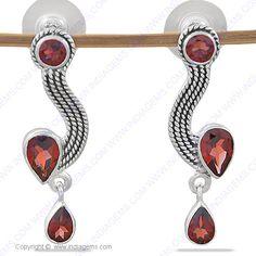 Designer Garnet 925 Silver Earring