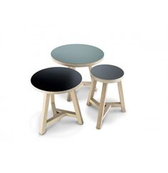 Triround stools and sidetables material beechwood and HPL | by Arp