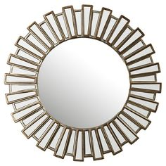 Features:  -Perfect in bathroom, bedroom, foyers and hallway.  -Antique silver patina banding.  -Beveled mirror.  -Contemporary style.  -Base construction: Resin.  Shape: -Sunburst.  Style: -Tradition