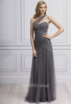 goddess grey one shoulder sleeveless long a-line pleated formal prom gown