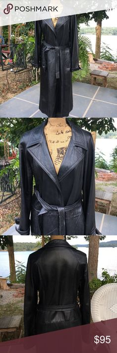 Vintage Lady Grais black leather coat Vintage Lady Grais calf length black leather coat. 1950's/60's era. Ties at waist and inside as well. A few scuffs here and there but still a great looking vintage coat!! Nice stitching, cuffs can be rolled up or not. Lovely details! vintage Lady Grais originals Jackets & Coats