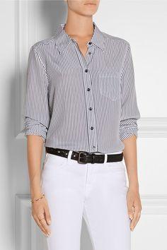 Equipment | Brett striped silk-crepe shirt | NET-A-PORTER.COM | $250