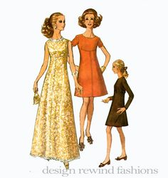 60s EVENING DRESS PATTERN Fit & Flare Empire Waist Maxi Dress Cocktail Dress Simplicity 8498 Bust 36 UNCuT Vintage Women's Sewing Patterns by DesignRewindFashions on Etsy