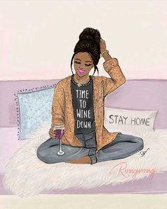 Black Girl Art, Black Women Art, Black Girls Rock, Black Girl Magic, Wine Down, Black Artwork, Afro Art, African American Women, Me Time