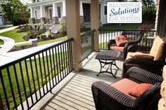 Solutions Aluminum Porch and Deck Railing in black with square metal balusters
