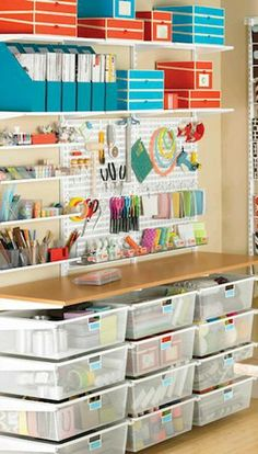 Organizing craft room, organizing stamping supplies, getting organized Sewing Room Organization, Craft Room Storage, Craft Rooms, Storage Ideas, College Organization, Desk Storage, Storage Boxes, Organization Ideas, Space Crafts