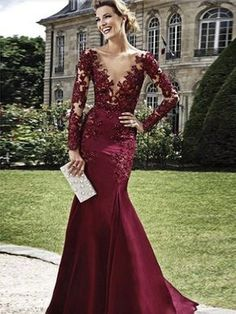 burgundy prom dresses, Sheath Column V-neck Floor-length Elastic Woven Satin Prom Dress Evening Dress MK083
