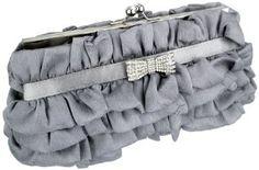 Empress Princess Ruffle Rhinestone Bow Tie Clasp Clutch Baguette Handbag Evening Bag Purse w/2 Detachable Chains $39.99