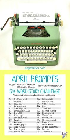 April challenge prompts for the Daily creative exercise for your Bullet Journal! Poetry Prompts, Journal Prompts, Writing Prompts, Journal Ideas, Journals, 6 Word Stories, Six Word Story, Word Challenge, April Challenge