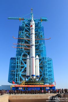 Rollout of China's Chang-Zheng 2f rocket which launches China's manned spacecraft Shenzhou.