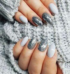 Unghie invernali argento e grigio Unghie Appariscenti, Unghie Shellac,  Unghie Opache, Unghie
