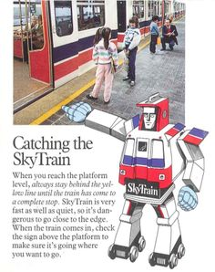 Historic SkyTrain pamphlet for kids, featuring an off-brand Transformer-SkyTrain! Youre Invited, Teaching Kids, Transformers, Baseball Cards, History, Trains, Fun, Blog, Future