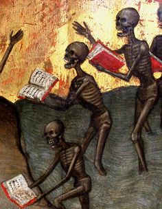 Stupid damned souls protest in vain and try to deny the colossal and minutely detailed account of sins, foolishnesses and assorted wicked things that they committed in life. Jacobello Alberegno, 'Triptyque de'l Apocalypse' ~ Bibliothèque Infernale on FB La Danse Macabre, Macabre Art, Dance Of Death, Fantasy Kunst, Fantasy Art, Memento Mori Art, Eslava, Renaissance Kunst, Death Art