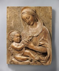 Madonna & Child -- Circa 1490 -- Italian, Florence -- Marble w/ painted background -- The Metropolitan Museum of Art Madonna, Sculpture Art, Metropolitan Museum Of Art, Culture Art, Madonna And Child, Ancient Art, Catholic Art, Christian Art, Sacred Art