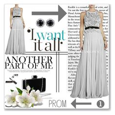 """""""21.Grey Pleated Rose Calida Long Evening Dress"""" by mery66 ❤ liked on Polyvore featuring CALIDA, Bobbi Brown Cosmetics, Prom and biygown"""