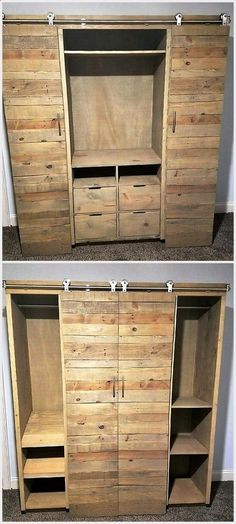Looking for an awesome gift Custom handcrafted furniture will wow them LInwood Media Cabinet with sliding barn doors and adjustable shelves Raised platform bed with stora. Pallet Wardrobe, Pallet Closet, Wardrobe Closet, Closet Doors, Closet Shelves, Closet Space, Upcycled Furniture, Pallet Furniture, Furniture Design