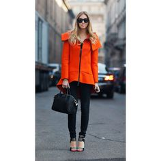 Orange scuba coat ❤ liked on Polyvore featuring pictures and models