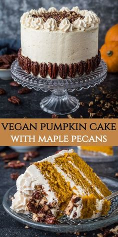Vegan pumpkin cake with maple pecans and cinnamon buttercream - this easy to make fluffy moist and perfectly spiced cake is perfect for Autumn you would never guess that it s vegan vegan pumpkinspice layercake vegancake veganbaking pumpkincake Healthy Vegan Dessert, Vegan Dessert Recipes, Vegan Treats, Vegan Foods, Vegan Dishes, Best Vegan Cake Recipe, Cake Recipes, Vegan Baking Recipes, Vegan Pumpkin