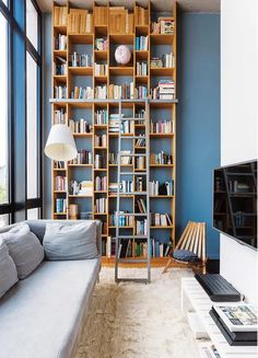 "interior-design-home: ""The choice of blue for a design apartment - PLANETE DECO a homes world "" Home Library Design, Small Living Room Decor, Apartment Design, Living Room Colors, Living Room Remodel, House Interior, Home Interior Design, Interior Design, Trendy Home"