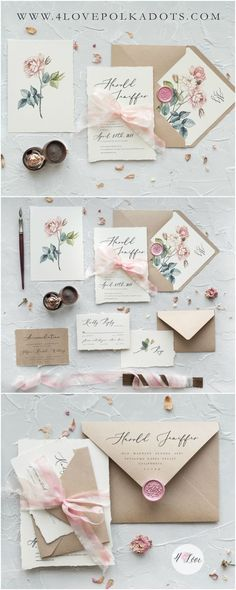 Calligraphy floral wedding invitations with envelopes liners and dyed silk ribbon. The elegant design is reflected through the unique details of the calligraphy and subtle florals. Romantic and delicate with vintage touch #handmade #elegant