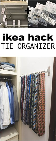 IKEA hack - Tie Organizer IKEA HACK: Use IKEA's Grundtal bar and Syrlig rings to make an easy, sturdy, space-saving tie organizer on a small wall area in your closet! Ikea Organization Hacks, Home Organization Wall, Small Closet Organization, Ikea Hacks, Organizing, Clothing Organization, Hacks Diy, Ikea Closet Hack, Ikea Closet Organizer