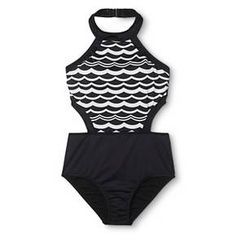 Women's Wave Print High Neck Color Block One Piece Swimsuit Black/White - Clean Water : Target