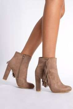 Audrina Mocha Suede Ankle Boots - In The Style