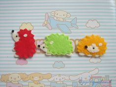 Set Of 6 pcs Handmade Felt Hedgehog - these would make great pencil toppers