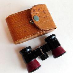 Vintage Elyco Black Opera Glasses w/ Red Leather by vintagedazzle