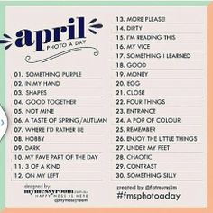 April 2014 Photo A Day List: Challenge yourself to some fun - Fat Mum Slim - - April 2014 Photo A Day List: Challenge yourself to some fun – Fat Mum Slim 365 Project April 2014 Photo A Day List: Challenge yourself to some fun – Fat Mum Slim Photography Challenge, Photography Lessons, Photography Projects, Creative Photography, Spring Photography, Photography Editing, Iphone Photography, Editorial Photography, Portrait Photography