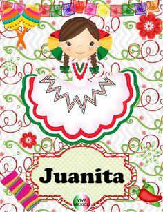 BANCO DE IMAGENES GRATIS: Quinta parte de nombres de mujeres en muñequitas mexicanas con decoracón de las fiestas patrias en México (100 postales gratis)