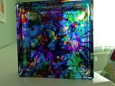 Krafty Block - Wow - I did it using alcohol inks! Fill with mini lights.