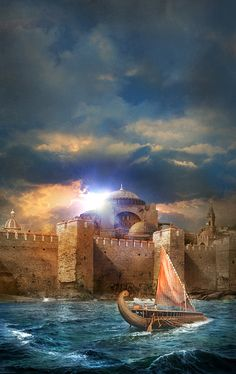 The Walls of Constantinople and Hagia Sophia ~~ artist by Alejandro Colucci